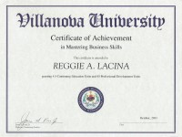 Villanova Universtity_ Cerrtificate in Mastering Business Skills_ Oct 2011