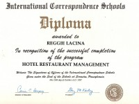 Hotel and Restraurant Management Diploma_Oct 1997